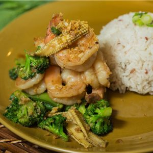 garlic-prawn-with-veg-with-rice